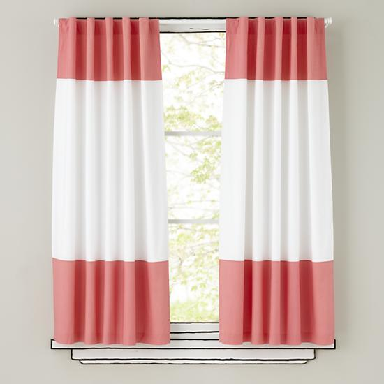 Kids Curtains Pink And White Curtain Panels The Land Of Nod