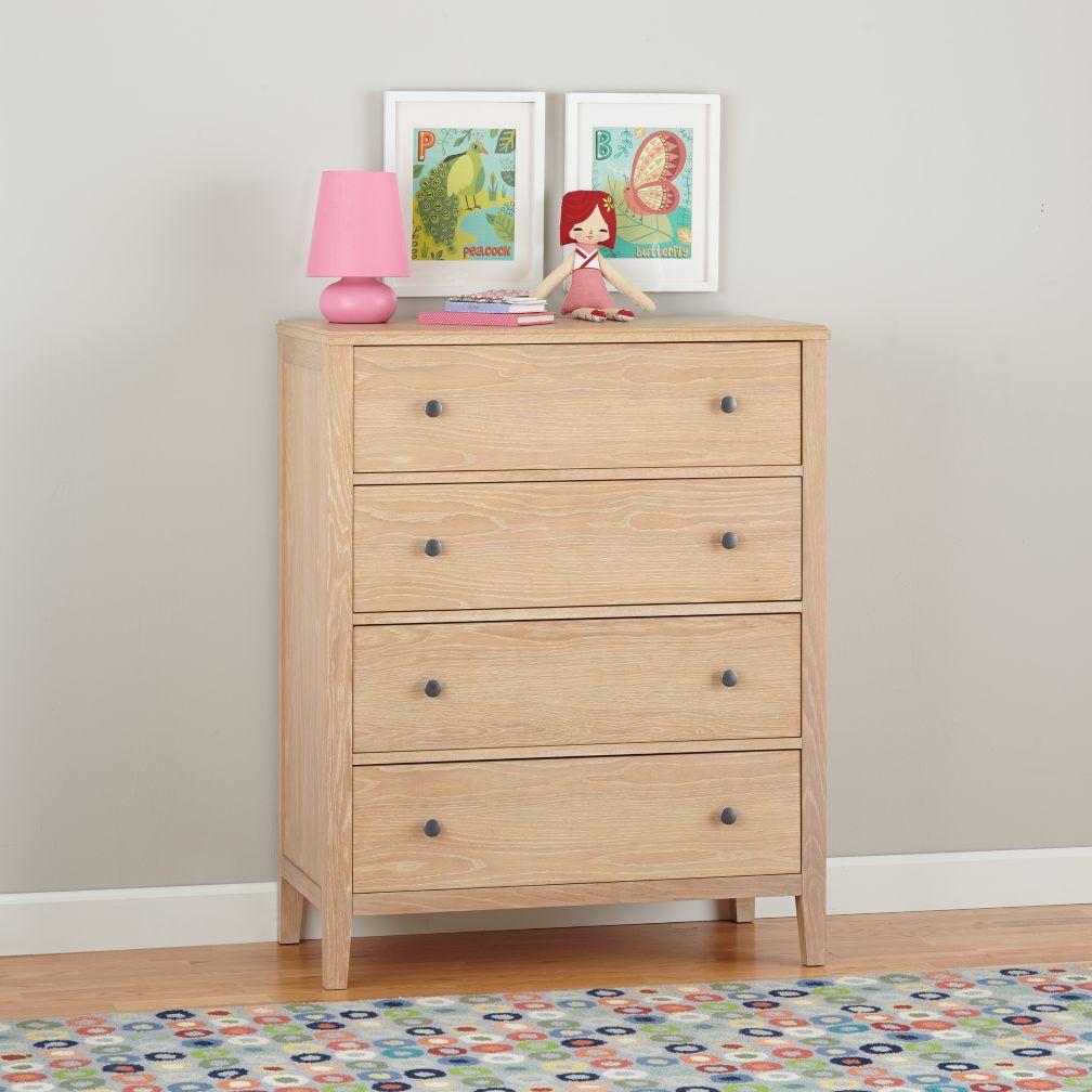 Bayside 4-Drawer Dresser (Whitewash)