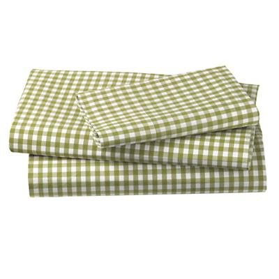 Twin Green Gingham Sheet Set