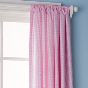 Checks, Please Curtain Panels (Small Gingham, Pink)