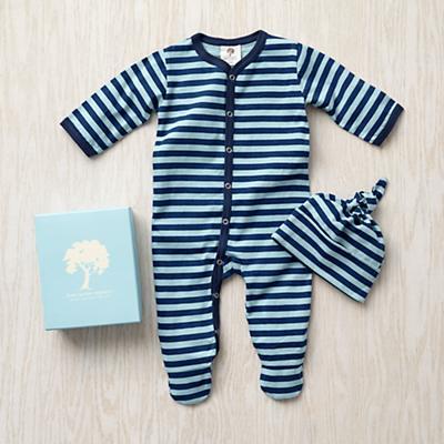 0-3 mos. Kate Quinn Gift Set (Blue Stripe)