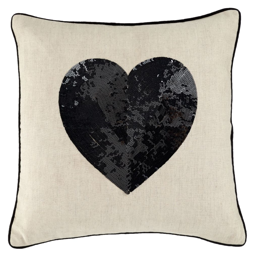 Black Sequin Heart Pillow
