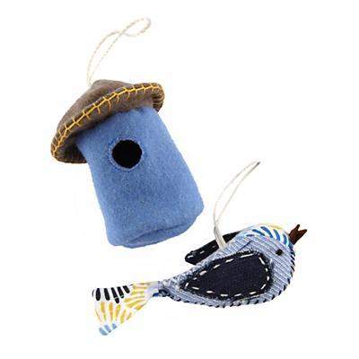 Blue Tweet Life Ornaments (Set of 2)
