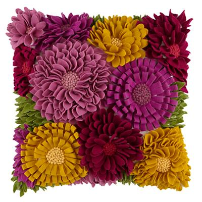 Floral Felt Throw Pillow