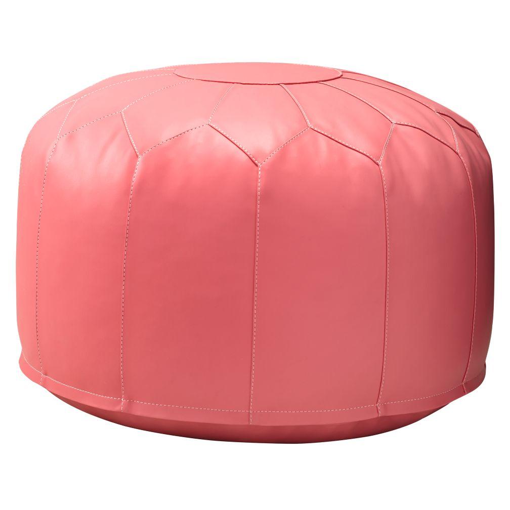 Faux Leather Pouf (Dk. Pink)