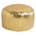 Gold Faux Leather Pouf