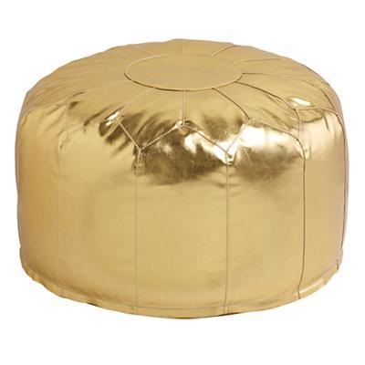 Faux Leather Pouf (Gold)