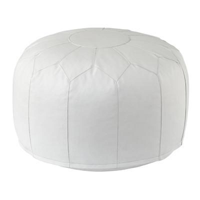 Faux Leather Pouf (White)
