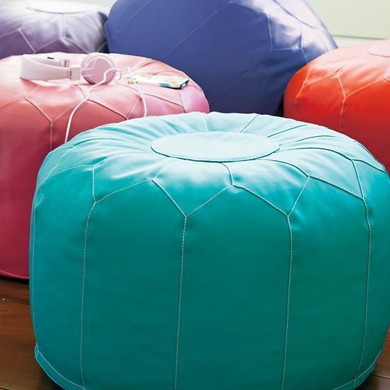 kids 39 seating kids aqua blue faux leather pouf ottoman the land of nod. Black Bedroom Furniture Sets. Home Design Ideas