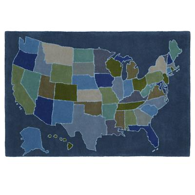 Coast to Coast Map Blue Rug Swatch