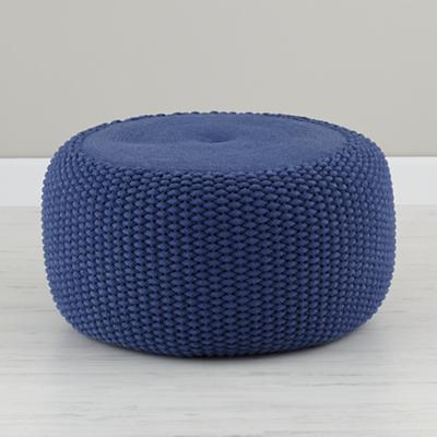 Blue Braided Pouf