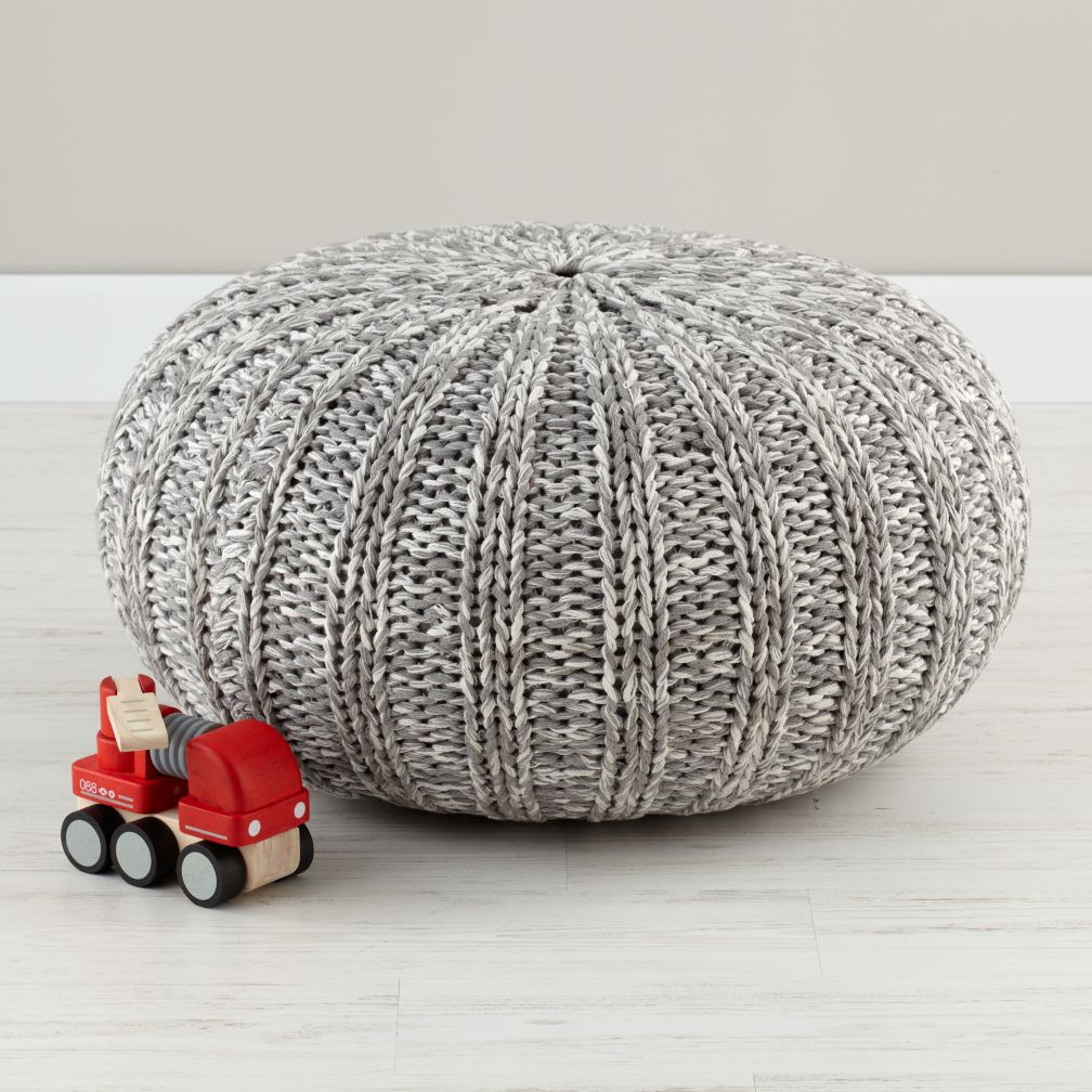 Pull up a pouf grey variegated for Floor knitting