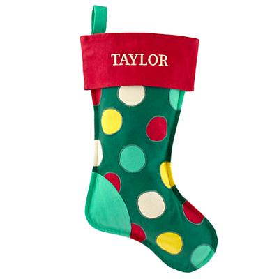 On the Bright Side Personalized Stocking (Dots)
