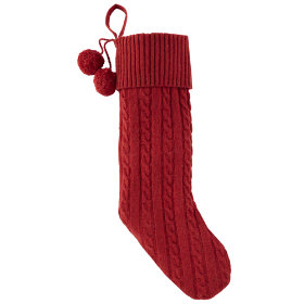 Cable Knit Stocking (Red)