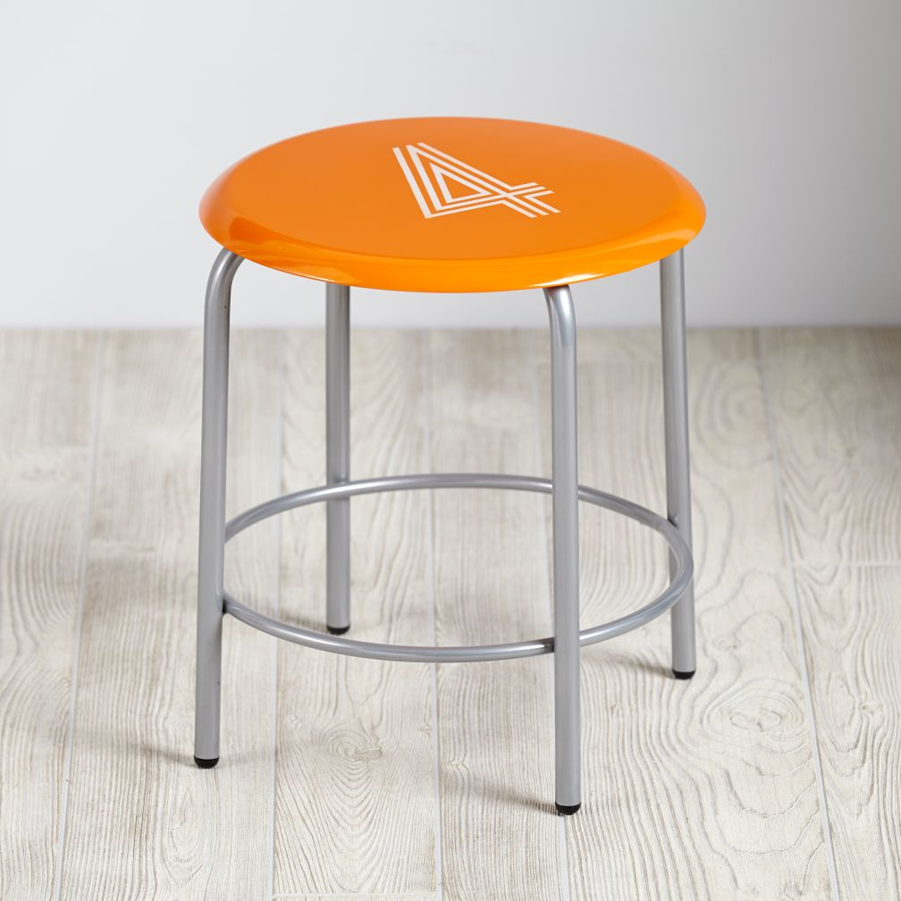 Numeral Metal Stool (Orange)