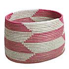 Pink Herringbone Woven Floor Bin