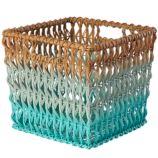 Fade Up Rattan Cube Basket (Aqua)