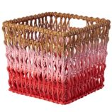 Fade Up Rattan Cube Basket (Pink)