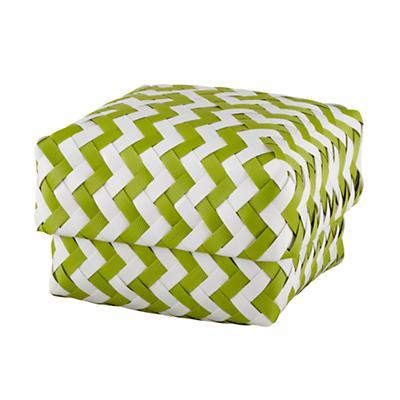 Small  Zig Zag Basket (Green)