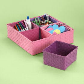 Strappy-Go-Lucky 4 Bin Storage Set (Pink)