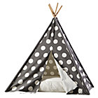 Grey w/White Dot Canvas Teepee and Cushion