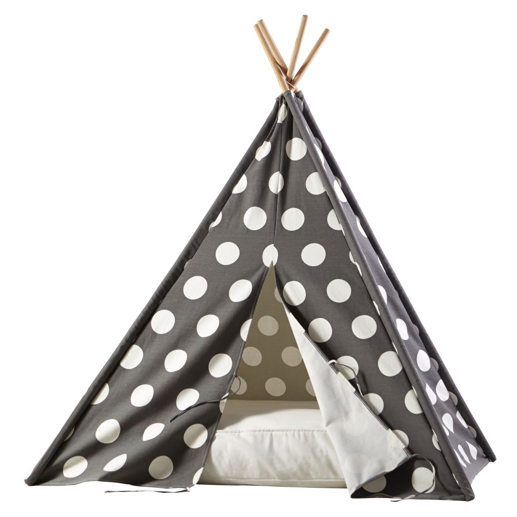 A Teepee & Cushion to Call Your Own Set (Grey w/ White Dot)