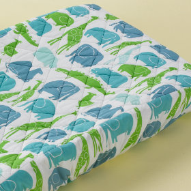 Changer Pad Cover (Blue Zoo Print)
