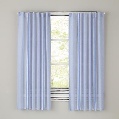 Blue Line Linen Curtain Panels