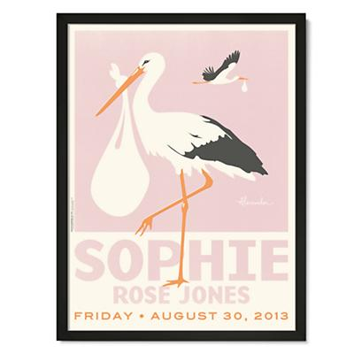 Stork Delivery Personalized Wall Art (Pink w/Black Frame)